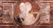 Simone Martini: Maestà, détail des médaillons. 1315. Fresque, 79 x 65 cm. Sienne, Palazzo Pubblico. Le médaillon représente l'allégorie de l'ancienne et de la nouvelle loi
