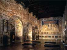 Simone Martini: vue sur la salle de la Mappamonde. Fresque. Sienne, Palazzo Pubblico