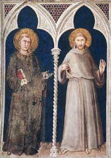 Simone Martini: Sant Antoine de Padoue et saint François. 1317. Fresque, 215 x 185 cm. Assise, chapelle Saint Martin, église inférieure Saint François