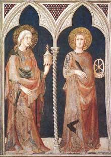 Simone Martini: Sainte Marie Madeleine et Sainte Catherine d'Alexandrie. 1317. Fresque, 215 x 185 cm. Assise, chapelle Saint Martin, église inférieure Saint François