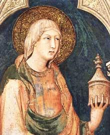 Simone Martini: Sainte Marie Madeleine (détail) 1317. Fresque, 97 x 80 cm. Assise, chapelle Saint Martin, église inférieure Saint François