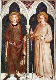Simone Martini: Saint Louis de France et Saint Louis de Toulouse. 1317. Fresque, 215 x 185 cm. Assise, chapelle Saint Martin, église inférieure Saint François