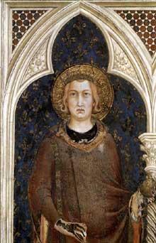 Simone Martini: Saint Louis de France (détail). 1317. Fresque. Assise, chapelle Saint Martin, église inférieure Saint François