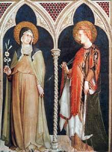 Simone Martini: Sainte Claire and Sainte Elisabeth de Hongrie. 1317. Fresque, 215 x 185 cm. Assise, chapelle Saint Martin, église inférieure Saint François