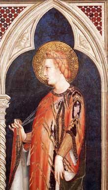 Simone Martini: Sainte Elisabeth de Hongrie (détail). 1317. Fresque, 215 x 185 cm. Assise, chapelle Saint Martin, église inférieure Saint François