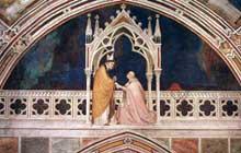 Simone Martini: Consécration de la Chapelle. 1317. Fresque, 330 x 700 cm. Assise, chapelle Saint Martin, église inférieure Saint François