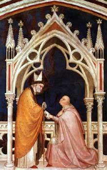 Simone Martini: Consécration de la Chapelle (détail). 1317. Fresque, 330 x 700 cm. Assise, chapelle Saint Martin, église inférieure Saint François
