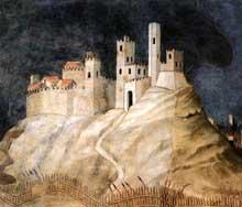 Simone Martini: Portrait équestre de Guidoriccio da Fogliano, détail: le village à la gauche de la fresque. 1328-1330. Fresque. Sienne, Palazzo Pubblico