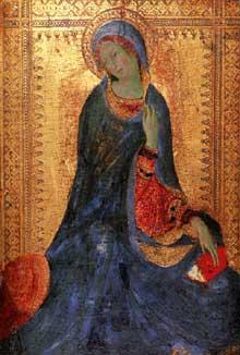 Simone Martini: la Vierge de l'Annonciation. 1333. Tempera sur bois, 30,5 x 21,5 cm. Saint-Pétersbourg, musée de l'Ermitage