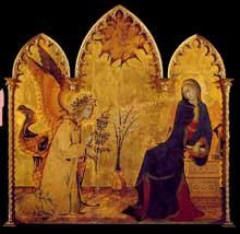 Simone Martini: l'Annonciation et deux Saints. 1333. Tempera sur bois, 265 x 305 cm. Florence, les Offices