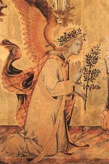 Simone Martini: l'Annonciation et deux Saints, détail. 1333. Tempera sur bois, 265 x 305 cm. Florence, les Offices