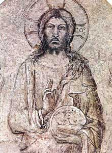Simone Martini: le Sauveur bénissant (détail). 1341. Troisième synopie. Avignon, Palais des papes