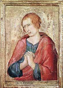 Simone Martini: Saint Jean l'Evangéliste. 1330-1339. Tempera sur bois, 34,5 x 24 cm. Birmingham, Barber Institute of Fine Arts