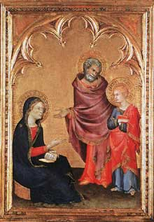 Simone Martini : le Christ retourne chez ses parents. 1342. Tempera sur bois, 49,5 x 35 cm. Liverpool, Walker Art Gallery