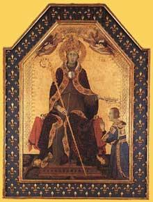 Simone Martini: retable de Saint Louis de Toulouse. Vers 1317. Tempera sur bois, 200 x 138 cm (sans la prédelle). Naples, Museo Nazionale di Capodimonte