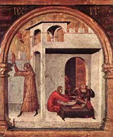 Simone Martini: retable de Saint Louis de Toulouse, détail de la prédelle. Vers 1317. Tempera sur bois, 56 x 38 cm (sans la prédelle). Naples, Museo Nazionale di Capodimonte