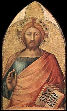 Simone Martini: Christ bénissant. 1317. Tempera sur bois, 76 x 46 cm. Naples, Museo Nazionale di Capodimonte. Ce panneau fait partie d'un polyptyque inconnu