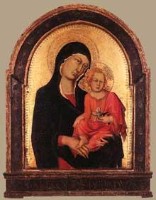 Simone Martini: Polyptyque de Cambridge: madone et enfant. 1320-1325. Tempera sur bois, 79 x 56 cm. Cologne, Wallraf-Richartz Museum