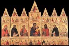 Simone Martini: Polyptyque de sainte Catherine ou polyptyque de Pise. 1319. Tempera sur bois, 195 x 340 cm. Pise, Museo Nazionale di San Matteo