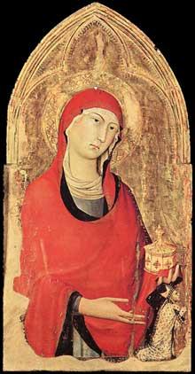 Simone Martini: polyptyque d'Orvieto, détail: Marie Madeleine et le donateur, l'évêque de Sovane Trasmundo Monaldeschi. Vers 1321. Tempera sur bois, 94 x 48,5 cm. Orvieto, Museo dell'Opera del Duomo