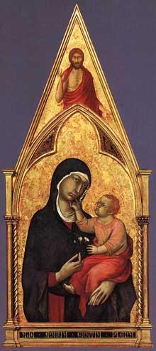 Simone Martini: polyptyque de Boston, détail: la madone et l'enfant. 1321-1325. Tempera sur bois, 137 x 102 cm. Boston, Isabella Stewart Gardner Museum