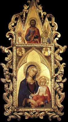Simone Martini: Madone à l'enfant avec le Sauveur et des saints. 1320. Tempera sur bois, 165 x 57 cm. Orvieto, Museo dell'Opera del Duomo