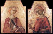 Simone Martini: Sainte Catherine et Sainte Lucie. 1320-1325. Tempera sur bois, 54 x 41 et 51 x 40 cm. Settignano, Berenson Collection