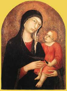 Simone Martini: Madone et enfant «de Castiglione d'Orcia». 1320-1325. Tempera sur bois. Sienne, Pinacoteca Nazionale