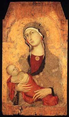Simone Martini: Madone et enfant «de Lucignano d'Arbia». 1321. Tempera sur bois, 88 x 51 cm. Sienne, Pinacoteca Nazionale
