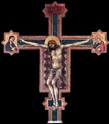 Simone Martini: Crucifix. 1321-1325. Tempera sur bois, 164 x 147 cm. San Casciano, Eglise de la Miséricorde (Florence)