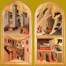 Simone Martini: retable d'Agostino Novello. 1324. Tempera sur bois, 198 x 257 cm. Sienne, Pinacoteca Nazionale