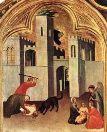 Simone Martini: retable d'Agostino Novello, détail: dans la partie supérieure gauche du retable se trouve le miracle de l'enfant attaqué par un loup et sauvé par le saint. 1324. Tempera sur bois, 82 x 67 cm. Sienne, Pinacoteca Nazionale