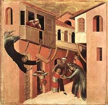 Simone Martini: retable d'Agostino Novello, détail: un enfant tombe du balcon et est sauvé par Agostino. Partie inférieure gauche du retable. 1324. Tempera sur bois, 82 x 67 cm. Sienne, Pinacoteca Nazionale