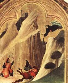 Simone Martini: retable d'Agostino Novello, détail: Un chevalier, tombé dans un ravin, est sauvé par le saint. Partie supérieure droite du retable. 1324. Tempera sur bois, 82 x 67 cm. Sienne, Pinacoteca Nazionale