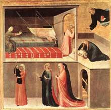 Simone Martini: retable d'Agostino Novello, détail: partie inférieure droite du retable: un enfant, tombé de son berceau, est guéri par le saint. 1324. Tempera sur bois, 65 x 67 cm. Sienne, Pinacoteca Nazionale