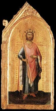 Simone Martini: Saint Ladislas, roi de Hongrie. Vers 1326. Tempera sur bois, 45,5 x 21,5 cm. Altomonte (Cosenza), Museo della Consolazione
