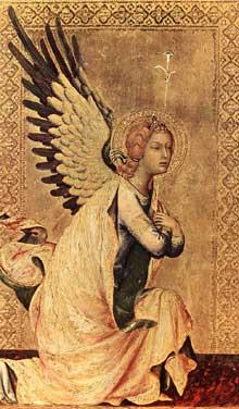 Simone Martini: le polyptyque Orsini: l'ange de l'Annonciation. 1333. Tempera sur bois, 23,5 x 14,5 cm. Anvers, Koninklijk Museum voor Schöne Kunsten