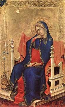 Simone Martini: le polyptyque Orsini: la Vierge de l'Annonciation. 1333. Tempera sur bois, 23,5 x 14,5 cm. Anvers, Koninklijk Museum voor Schone Kunsten