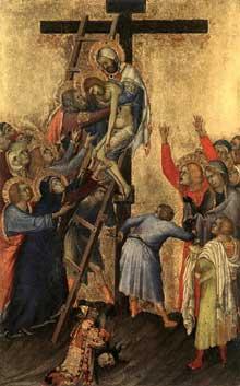 Simone Martini: le polyptyque Orsini: la déposition de la croix. 1333. Tempera sur bois, 24,5 x 15,5 cm. Anvers, Koninklijk Museum voor Schone Kunsten