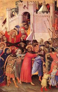 Simone Martini: le polyptyque Orsini: le portement de la croix. 1333. Tempera sur bois, 25 x 16cm. Paris, Musée du Louvre