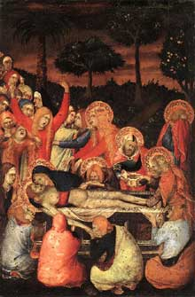 Simone Martini: le polyptyque Orsini: la mise au tombeau. 1333. Tempera sur bois, 22 x 15 cm. Berlin, Staatliche Museen