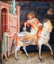 Simone Martini: Saint Martin partage son manteau (scène 1). 1312-1317. Fresque, 265 x 230 cm. Assise, chapelle Saint Martin, église inférieure Saint François