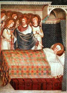 Simone Martini: le songe de Saint Martin (scène 2). 1312-1317. Fresque, 265 x 200 cm. Assise, chapelle Saint Martin, église inférieure Saint François