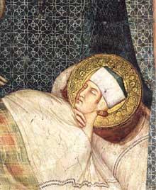Simone Martini: le songe de Saint Martin (détail). 1312-1317. Fresque, 85 x 70 cm. Assise, chapelle Saint Martin, église inférieure Saint François