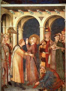 Simone Martini: Saint Martin adoubé chevalier (scène 3). 1312-1317. Fresque, 265 x 200 cm. Assise, chapelle Saint Martin, église inférieure Saint François