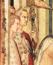 Simone Martini: Saint Martin adoubé chevalier, détail. 1312-1317. Fresque, 87 x 61 cm. Assise, chapelle Saint Martin, église inférieure Saint François