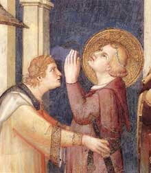 Simone Martini: Saint Martin adoubé chevalier, détail. 1312-1317. Fresque. Assise, chapelle Saint Martin, église inférieure Saint François