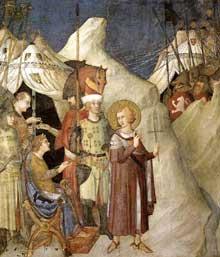 Simone Martini: Saint Martin renonce à ses armes (scène 4). 1312-1317. Fresque, 265 x 230 cm. Assise, chapelle Saint Martin, église inférieure Saint François