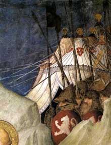 Simone Martini: Saint Martin renonce à ses armes (détail). 1312-1317. Fresque. Assise, chapelle Saint Martin, église inférieure Saint François