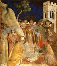 Simone Martini: le Miracle de l'enfant ressuscité (scène 5). 1312-1317. Fresque, 296 x 230 cm. Assise, chapelle Saint Martin, église inférieure Saint François